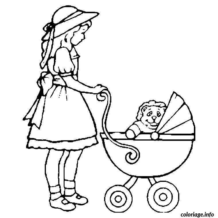 Coloriage petite fille landau - Coloriage a imprimer pour fille ...