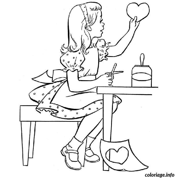 Coloriage petite fille decoupage dessin - Fille a colorier ...