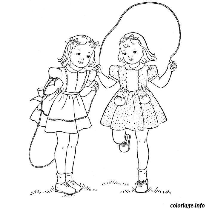 coloriage fille jumelles corde a sauter dessin. Black Bedroom Furniture Sets. Home Design Ideas