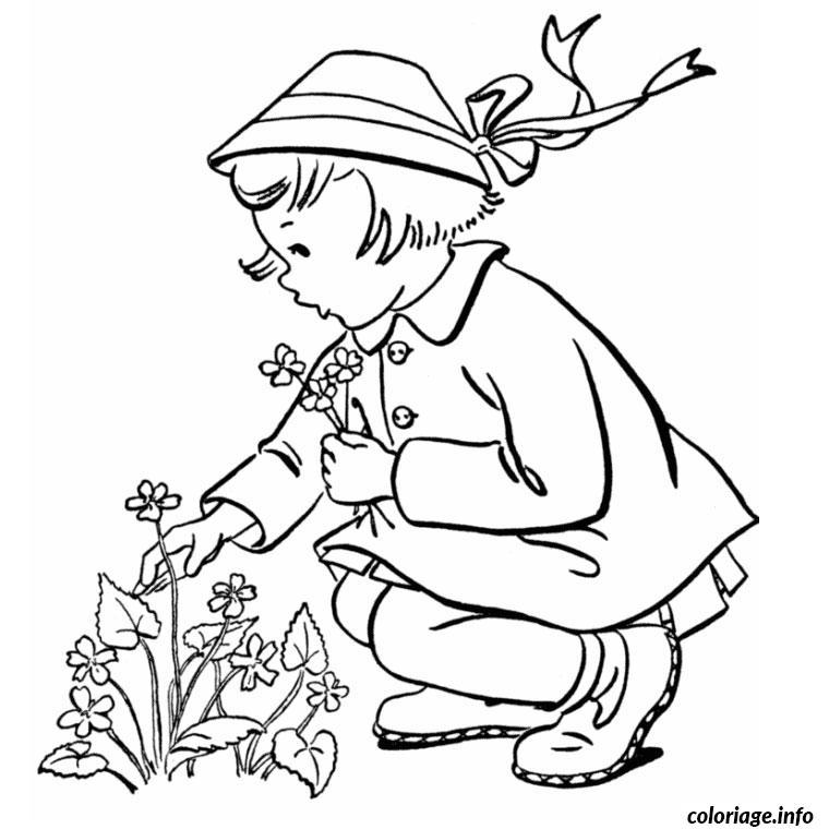 Coloriage jeune fille dessin - Belle fleur a dessiner ...