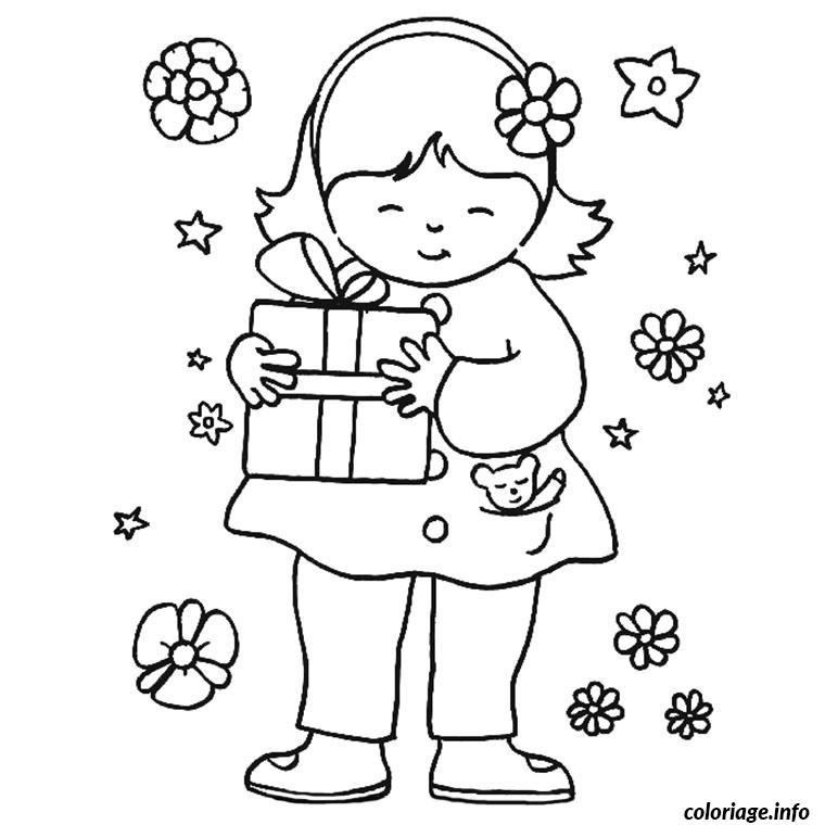 Coloriage Petite Fille Cadeau Fleurs Jecolorie Com