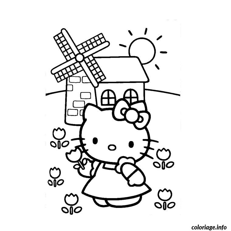 Coloriage Fille Hello Kitty Jecolorie Com