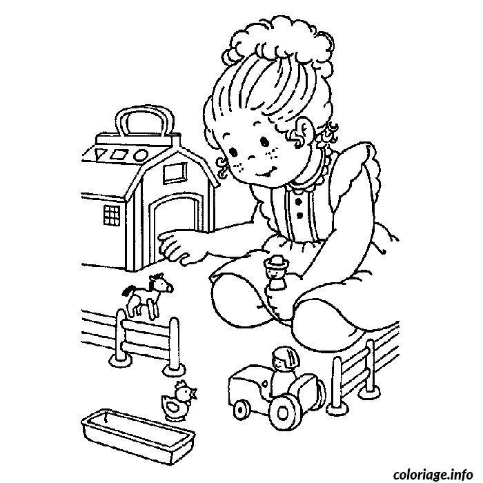 coloriage fille jouets dessin gratuit