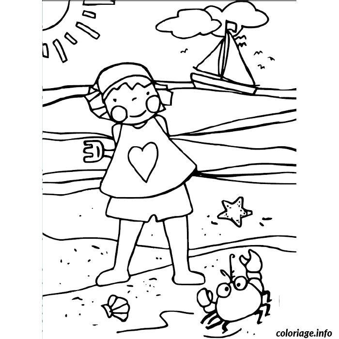 Dessin petite fille a la plage Coloriage Gratuit à Imprimer