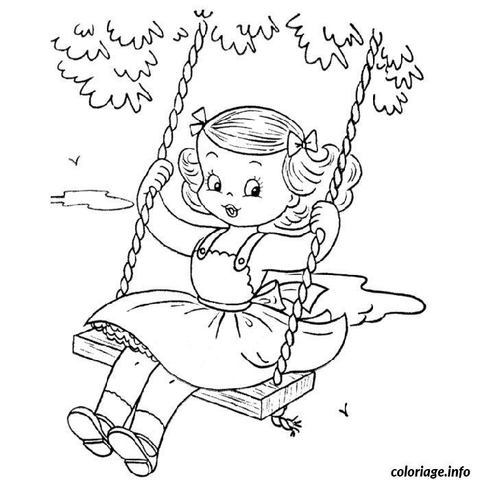 Coloriage petite fille en balancoire - Coloriage pour petite fille ...