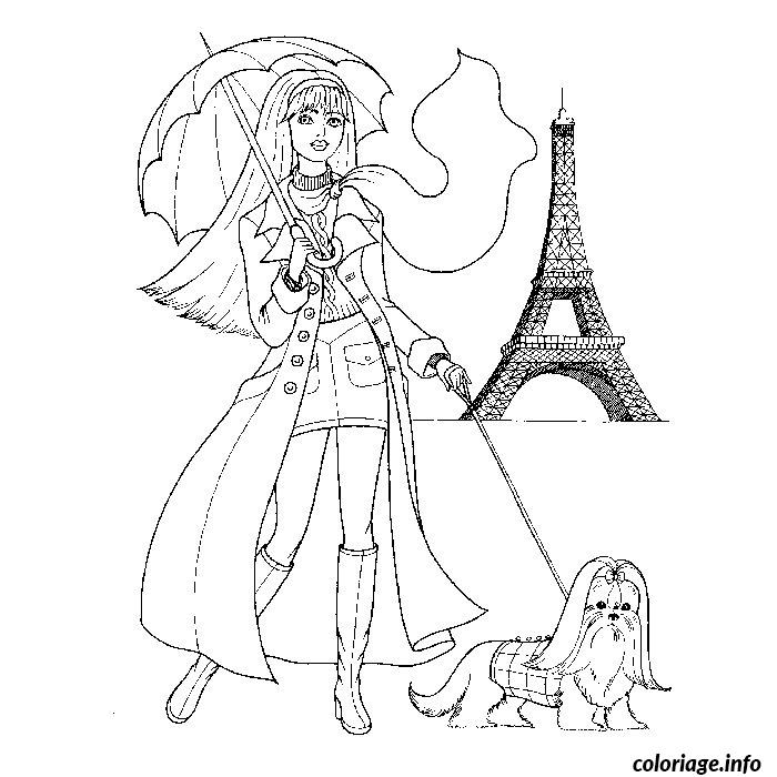fille mode paris coloriage 2352
