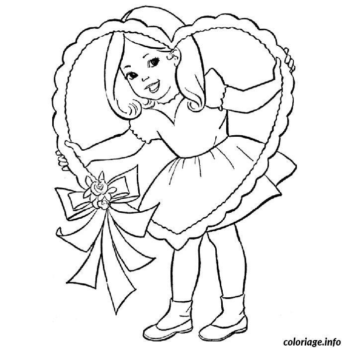 coloriage petite fille valentine dessin imprimer - Dessin De Petite Fille