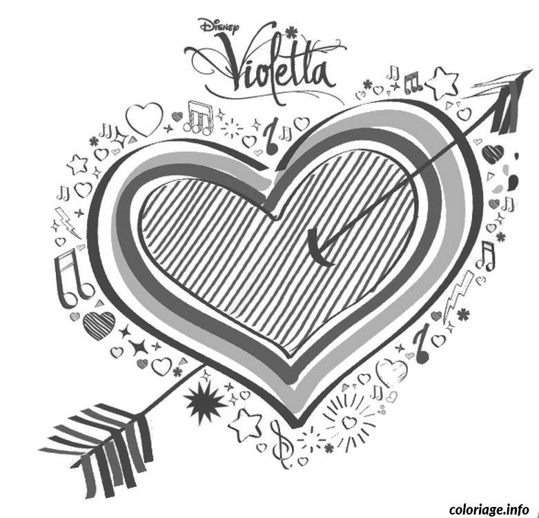 Dessin coeur violetta Coloriage Gratuit à Imprimer