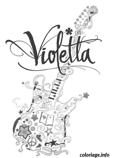 Dessin guitar violetta Coloriage Gratuit à Imprimer