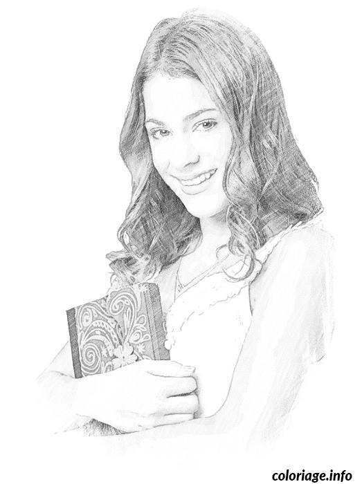 Dessin violetta avec son journal Coloriage Gratuit à Imprimer