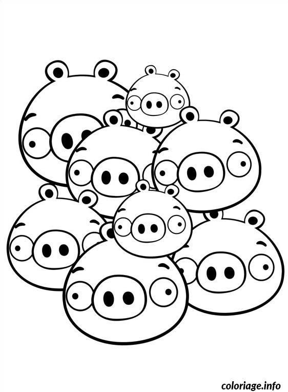 Coloriage angry birds tas de cochons en famille dessin - Angry birds gratuit en ligne ...