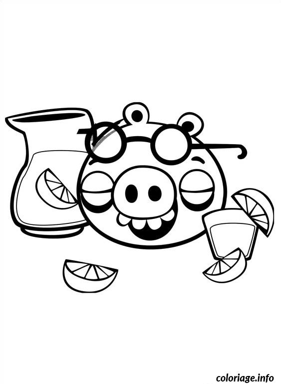 Coloriage angry birds cochon boit cocktail citron dessin - Coloriage citron ...