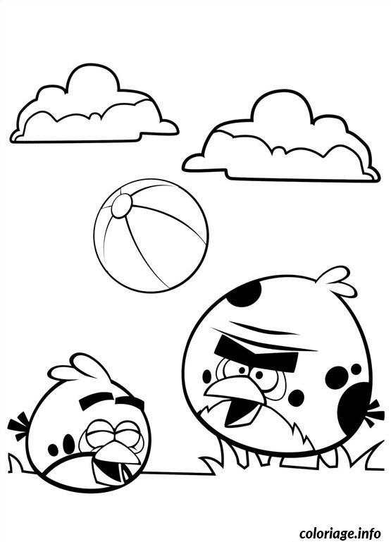 Coloriage angry birds jouent au ballon de foot - Dessin de angry birds ...