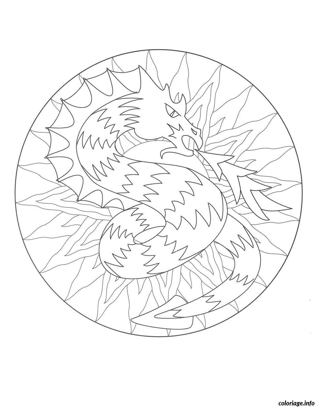Coloriage coloring mandala dragon 3 dessin - Mandala de dragon ...