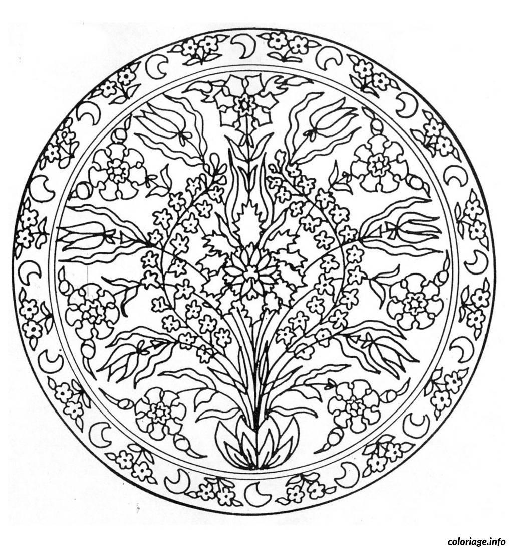 Coloriage Coloring Mandala Flowers 3 dessin