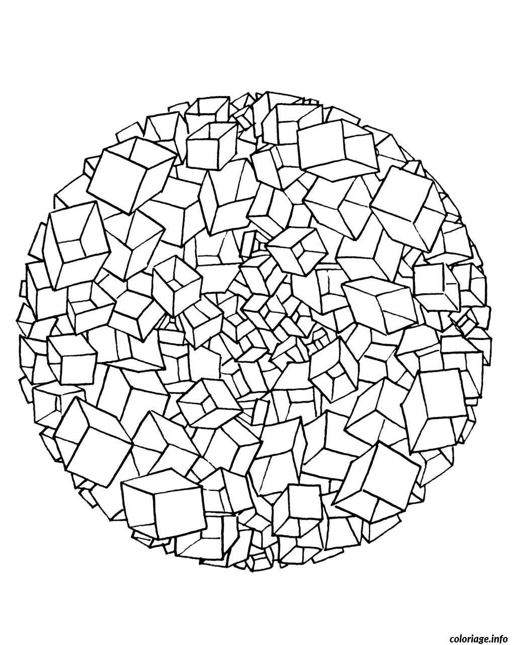 Coloriage Free Mandala To Color Cubes 3d Dessin