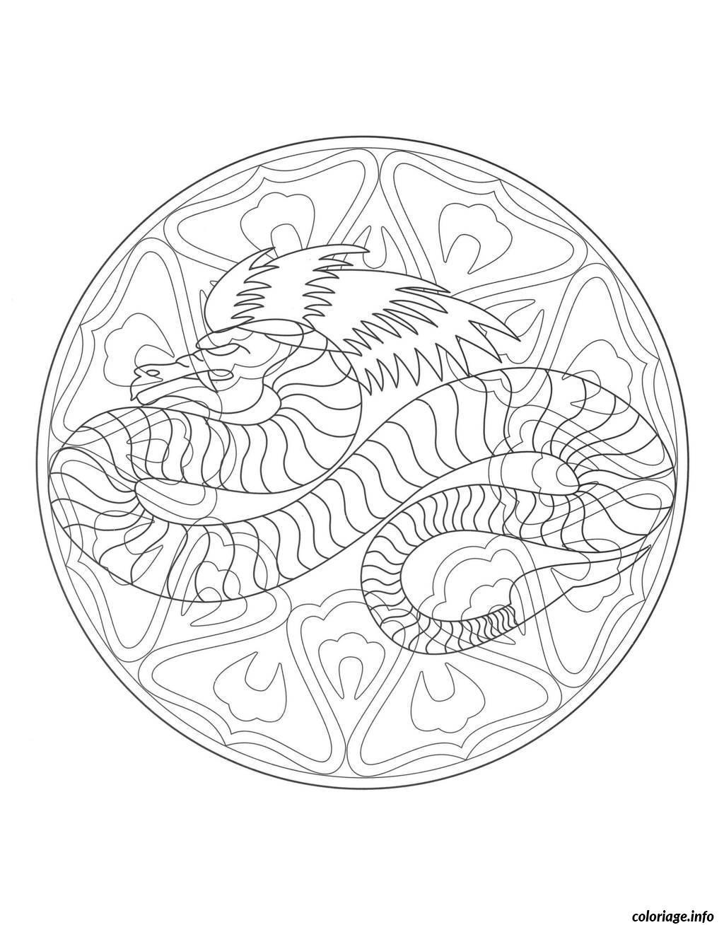Coloriage coloring mandala dragon 4 dessin - Mandala dragon ...