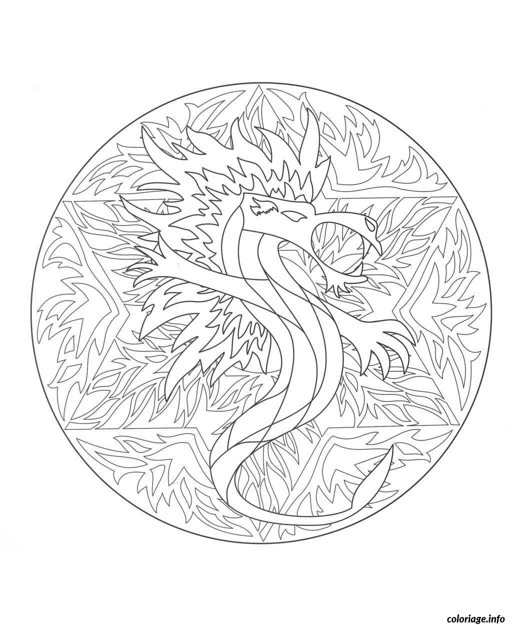Coloriage coloring mandala dragon 5 - Dragon a imprimer ...