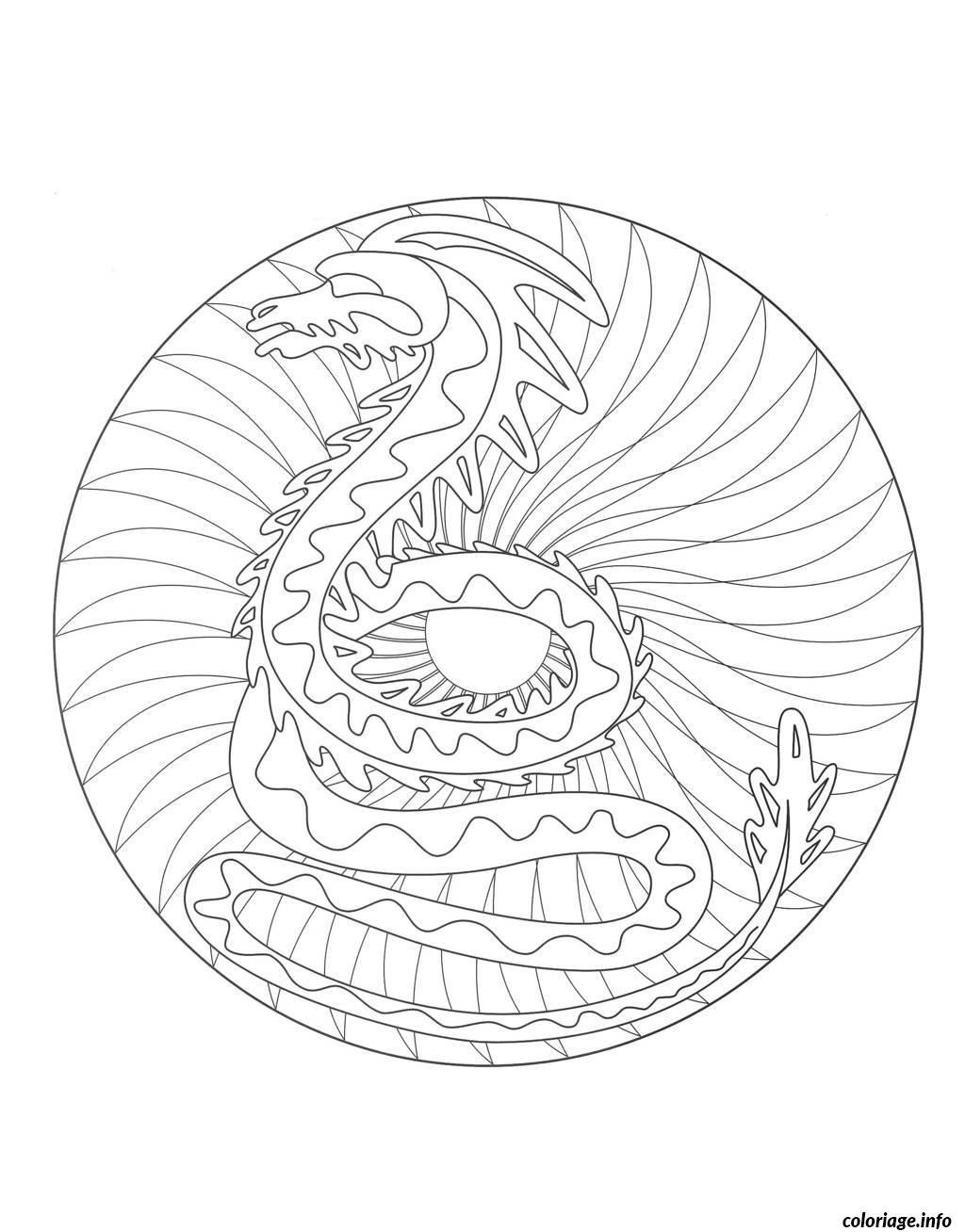 Coloriage Coloring Mandala Dragon 2 Dessin