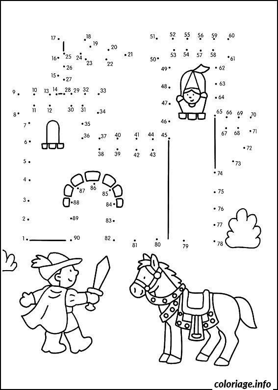 Coloriage point a relier maternelle chevalier et son - Point a relier a imprimer ...