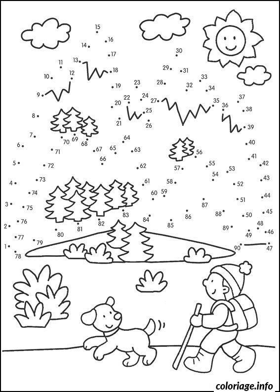 Coloriage points a relier cp hiver marcher avec son chien - Relier des points ...