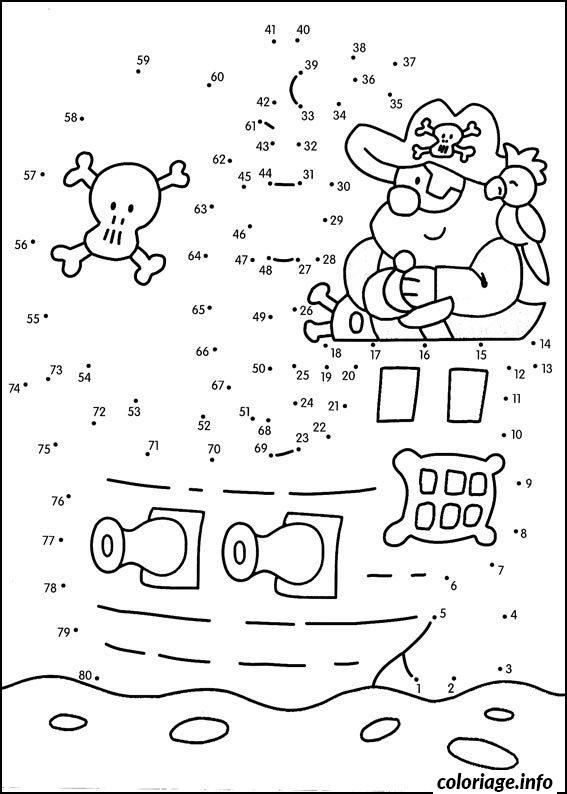 Coloriage points a relier cp pirate et son bateau dessin - Relier 9 points avec 3 traits ...