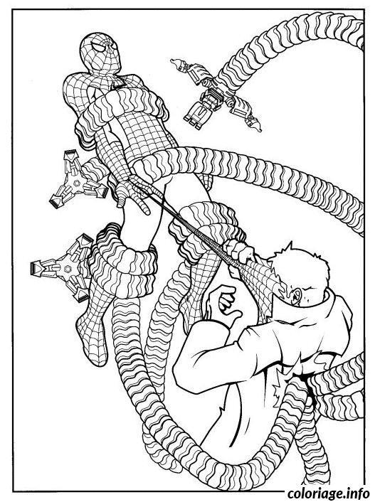 Coloriage Docteur Octopus capture spiderman avec force - JeColorie.com