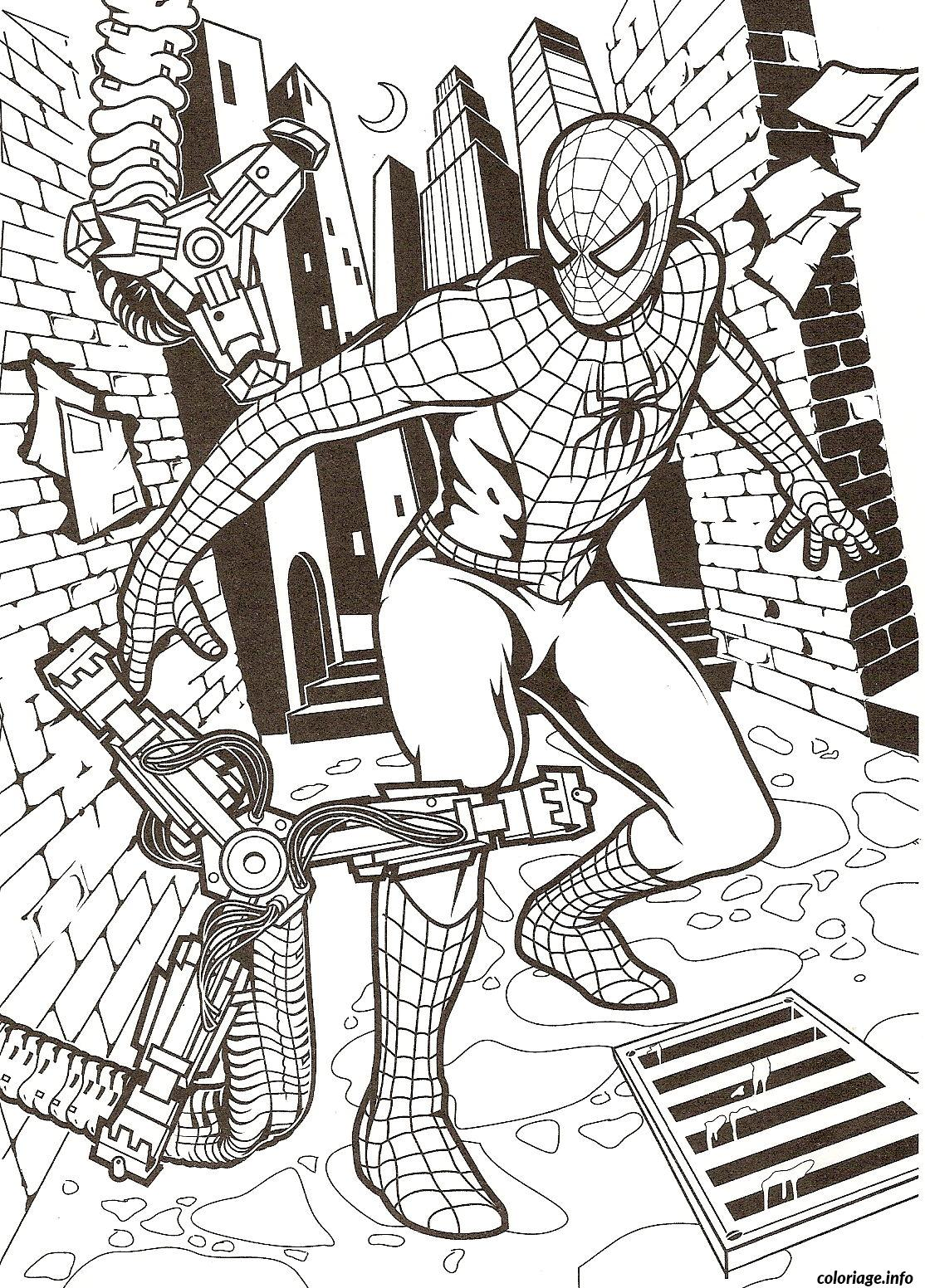 Coloriage spiderman se fait attaque dessin - Dessin spider man ...