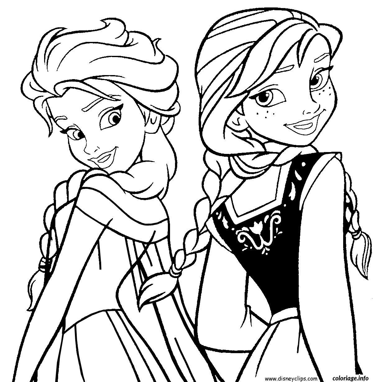 Dessin Elsa et Anna Reine des neiges Coloriage Gratuit à Imprimer