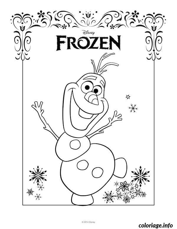Coloriage olaf dessin portrait disney frozen - Coloriage olaf ...