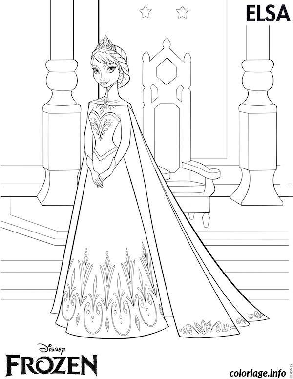 Coloriage Elsa Disney Frozen Jecolorie Com