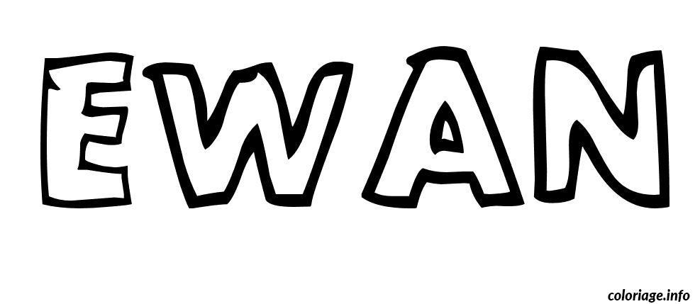 Coloriage ewan - Prenom en dessin ...