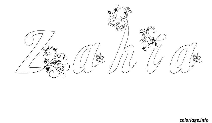 Dessin Zahia Coloriage Gratuit à Imprimer
