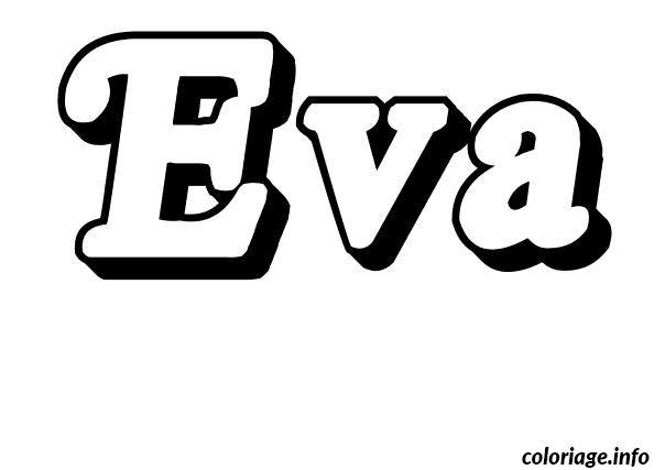 Coloriage eva dessin - Tag prenom gratuit ...