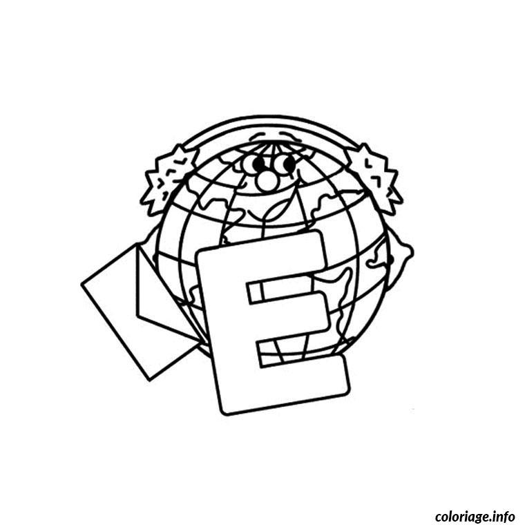 Coloriage Lettre E Dessin Alphabet à imprimer