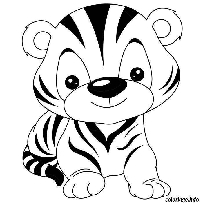 Coloriage De Bebe Tigre Rigolo dessin