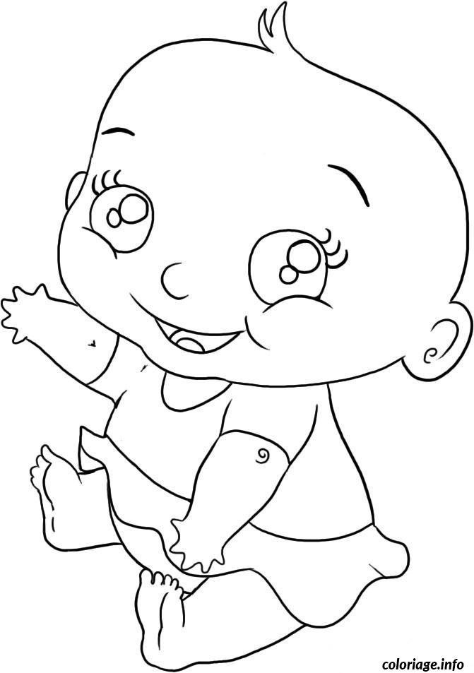 Coloriage bebe fille dessin - Fille a colorier ...