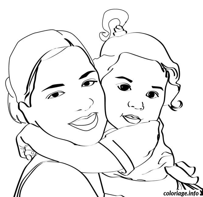 coloriage bebe maman