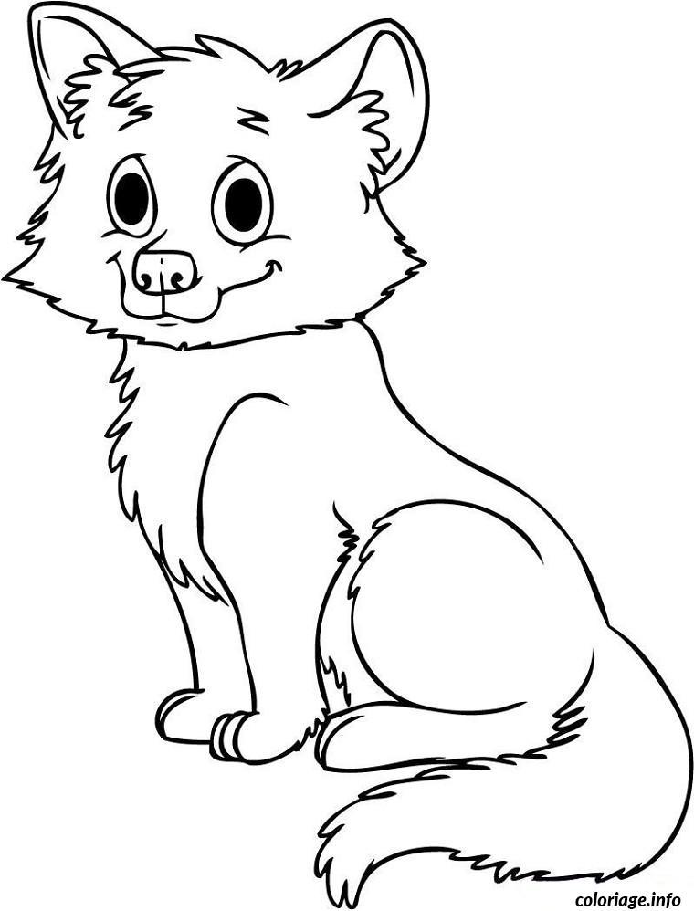 Coloriage bebe loup facile dessin - Coloriage loup rigolo ...