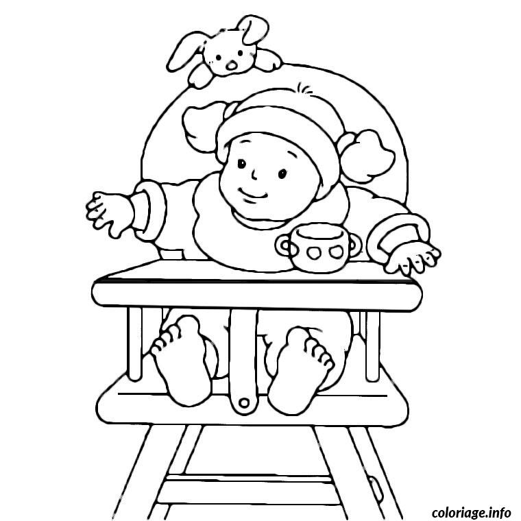 coloriage bebe dans sa chaise haute dessin imprimer - Coloriage De Bb