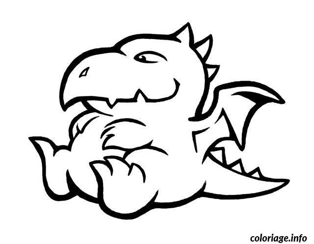 Coloriage bebe dragon dessin - Dessin dragon simple ...