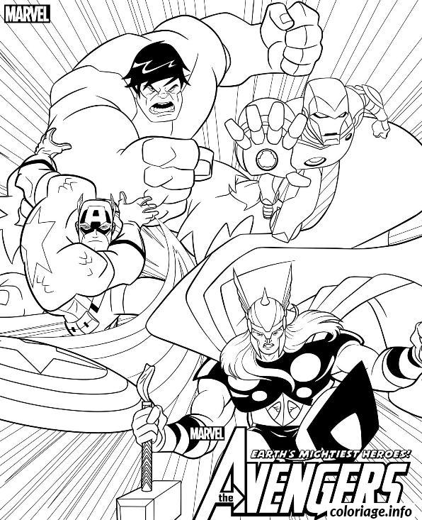 coloriage avengers team hulk ironman captain america thor dessin imprimer