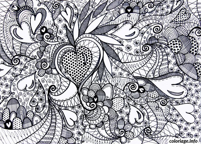 Dessin saint valentin coeur adulte difficile Coloriage Gratuit à Imprimer