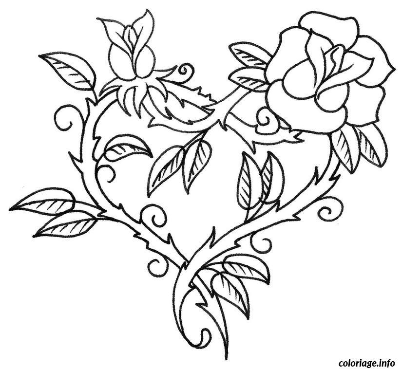 Coloriage Fleur Et Coeur.Coloriage Saint Valentin Coeur En Forme De Fleur Dessin