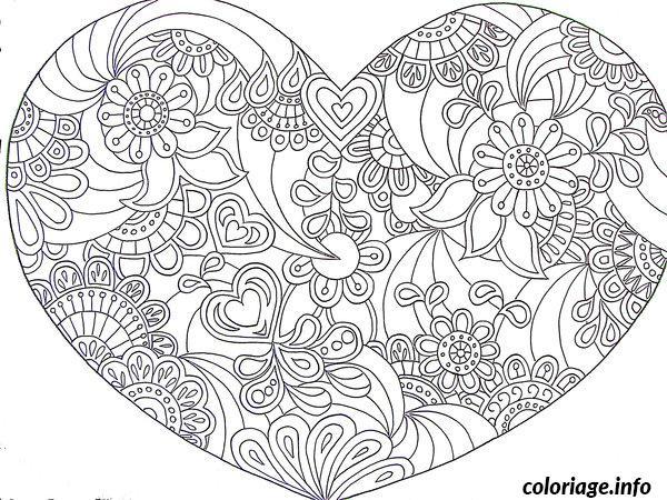Coloriage Saint Valentin Coeur Adulte Difficile Mandala Dessin