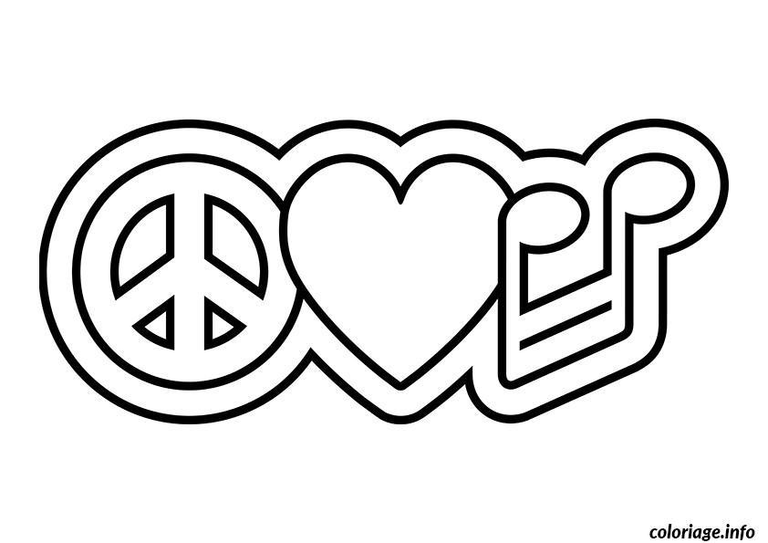 Coloriage dessin amour 138 dessin - Dessin peace and love ...