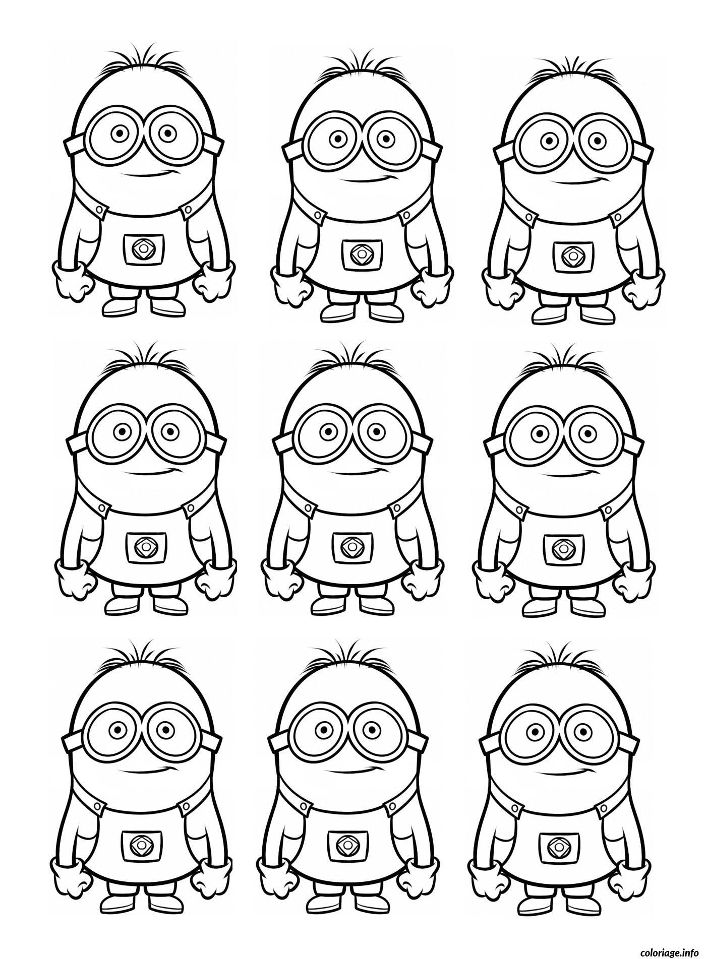 Coloriage dessin neuf minions - Coloriage minion ...