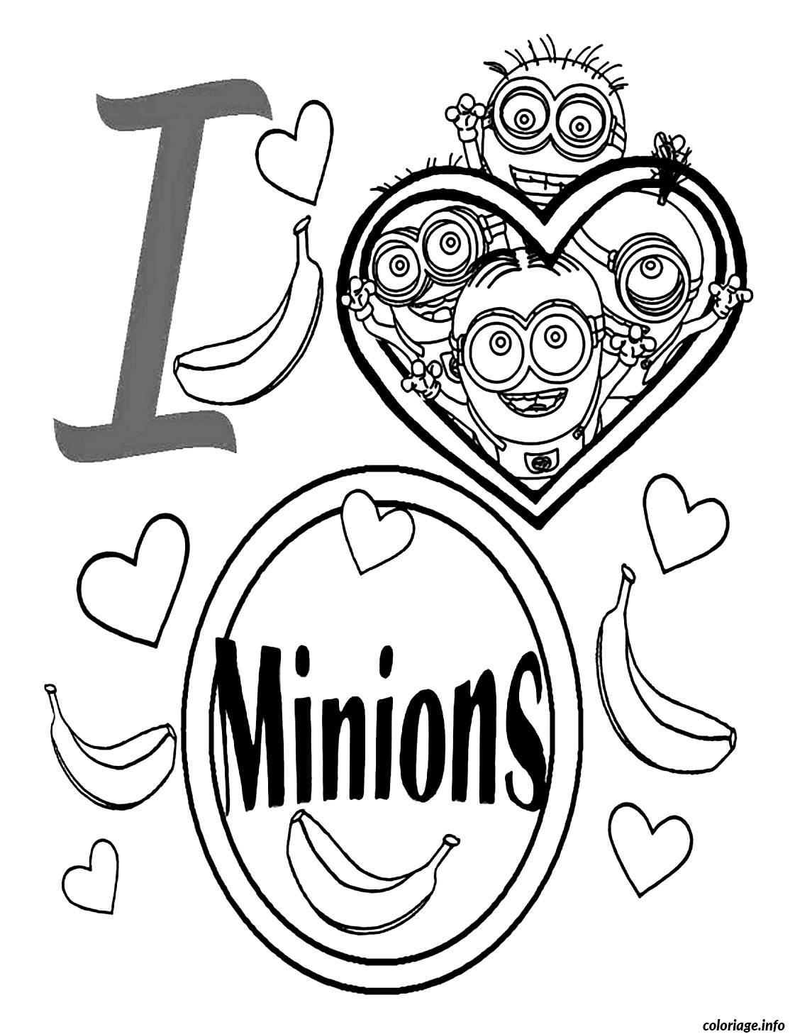 Coloriage dessin i love minions dessin - Minion a imprimer ...