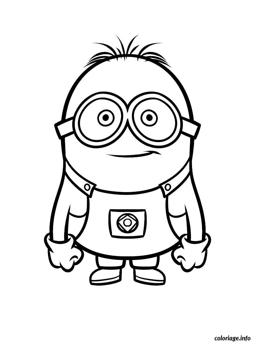 Dessin De Lunettes coloriage dessin jeune minion lunette - jecolorie