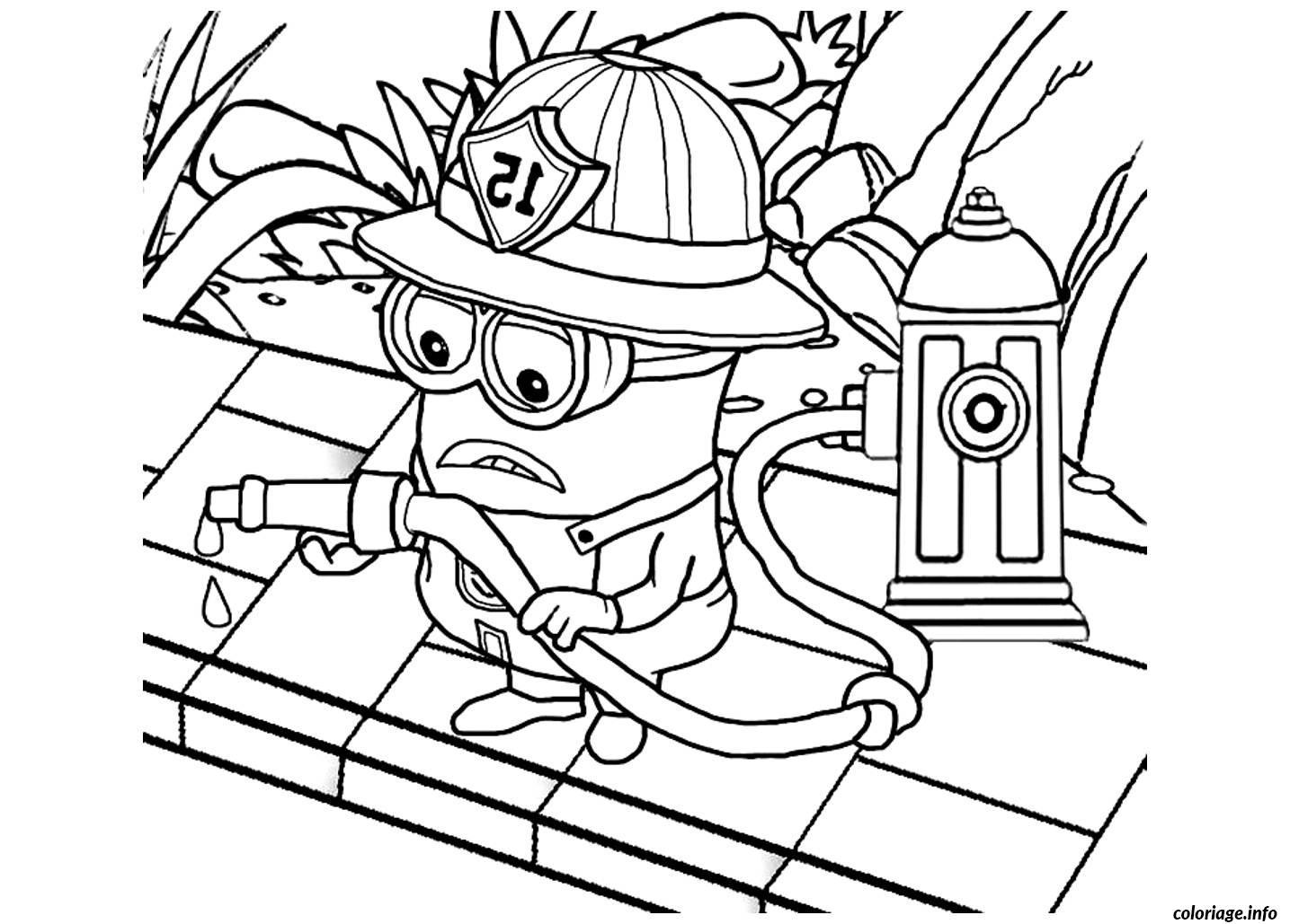 Coloriage Dessin Minion Le Pompier Jecoloriecom